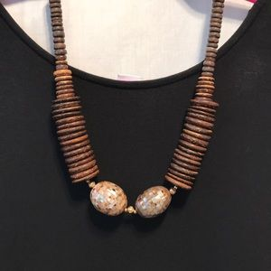 Natural wood And abalone necklace